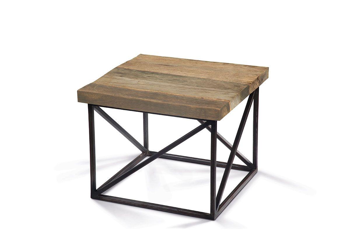 Massivholz couchtisch mit rahmengestell metall holzpiloten for Couchtisch massivholz metall