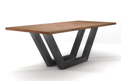 Esstisch Industriedesign Buche nach Maß mit Astanteil und Kufen aus Stahl gefertigt.