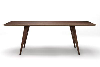 Massivholz Esstisch Nussbaum modern mit Schweizerkante nach Maß gefertigt.