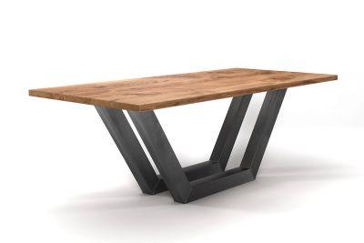 Esstisch Eiche Industriedesign nach Maß mit Stahlkufen in verschiedenen Oberflächen gefertigt.