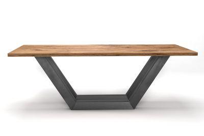 Industrial Esstisch nach deinem Maß aus Massivholz Buche mit Astanteil produziert.