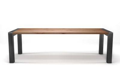 Holztisch Buche mit lebhaftem Astanteil und Stahl Beinen nach deinem Maß gefertigt.