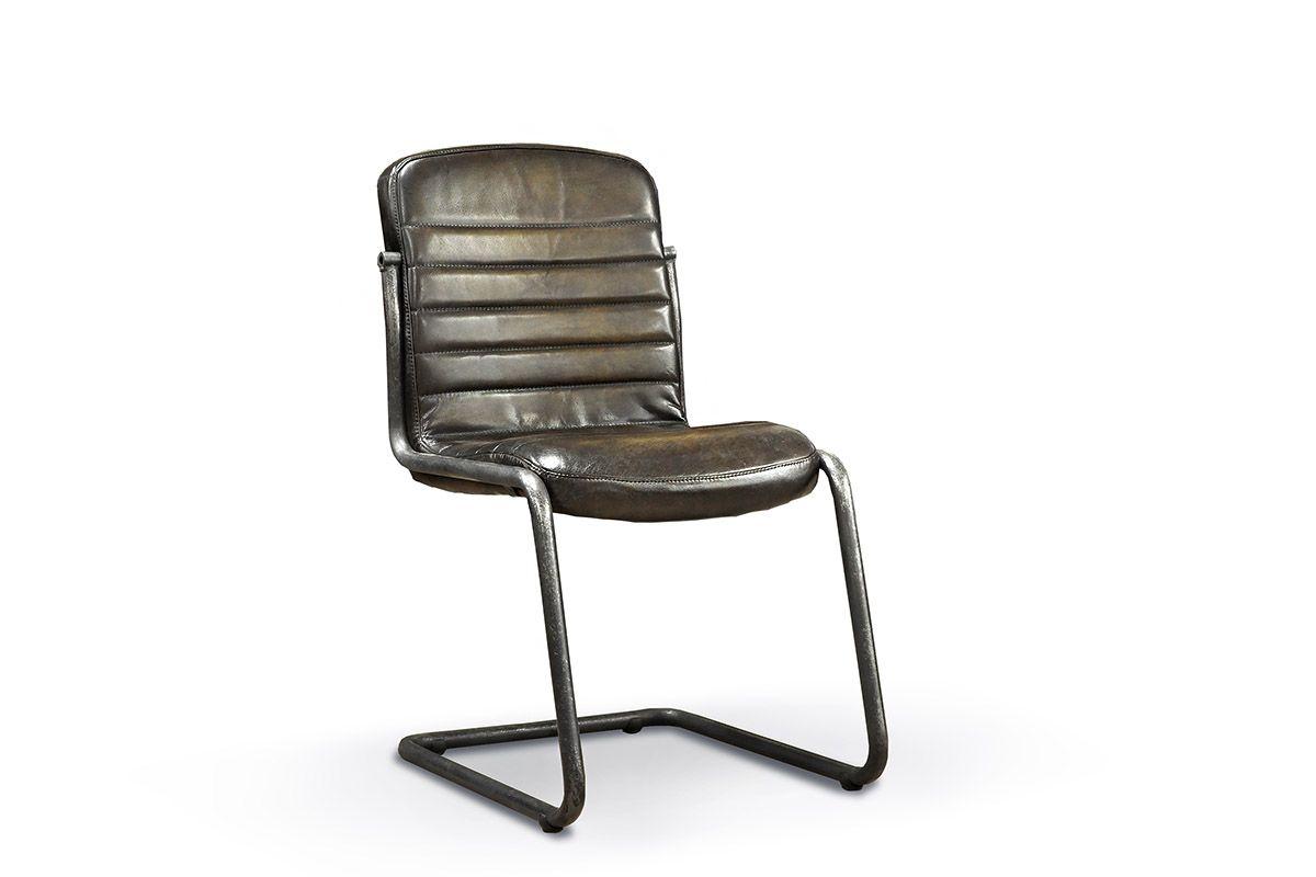 Stuhl modern mit Echtlederbezug im angesagten Industriedesign.
