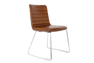 Stuhl modern aus Büffel Echtleder mit Chromfüßen