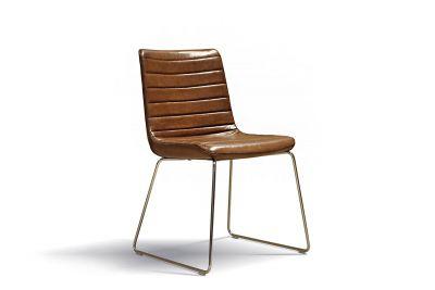 Stuhl modern aus Büffel Echtleder mit Chromfüßen, Modell 40B.