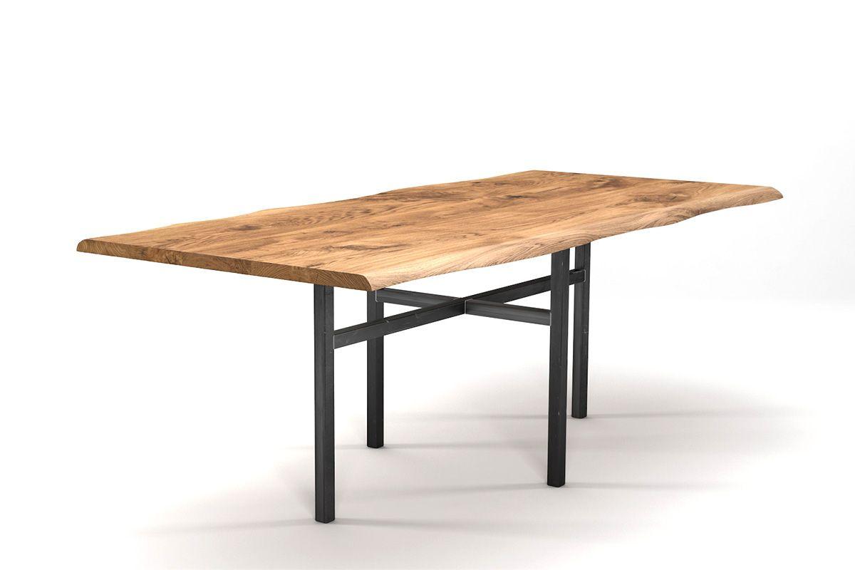 Baumkantentisch mit Rahmengestell Eiche 3cm mit Astanteil nach Maß