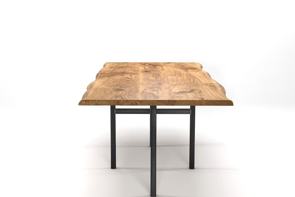 baumkantentisch mit rahmengestell eiche holzpiloten. Black Bedroom Furniture Sets. Home Design Ideas