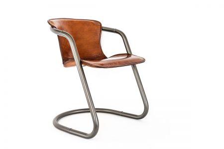 Industriedesign Leder Stuhl mit einem Stahlgestell 48A.