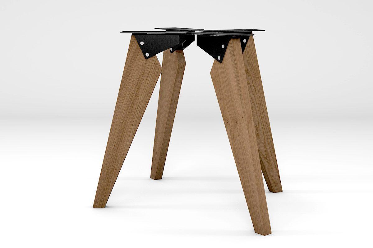 Tischbeine modern Eiche massiv 4er Set