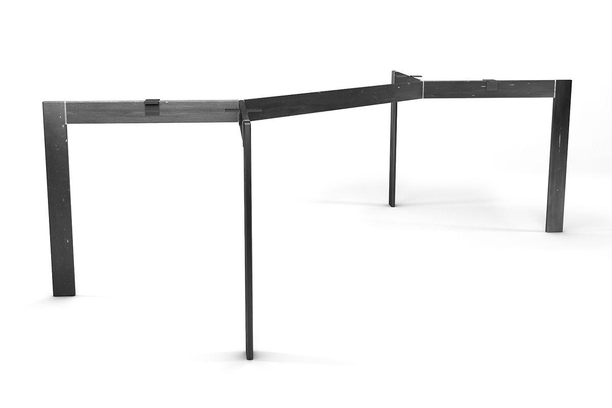 Tischgestell modern nach Maß aus Stahl in selbsttragender Ausführung gefertigt.