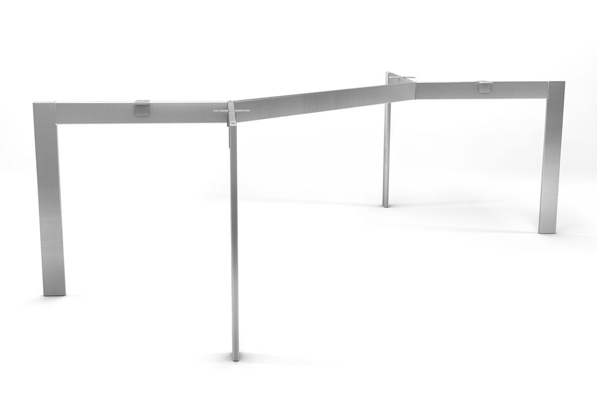 Edelstahlgestell nach Maß in filigraner und selbsttragender Ausführung gefertigt.