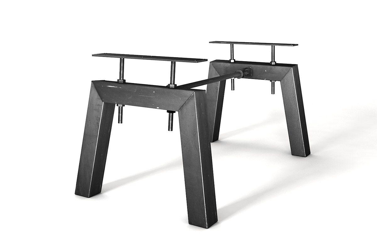 Tischgestell Stahl nach Maß im Industriedesign mit Mittelstrebe gefertigt.