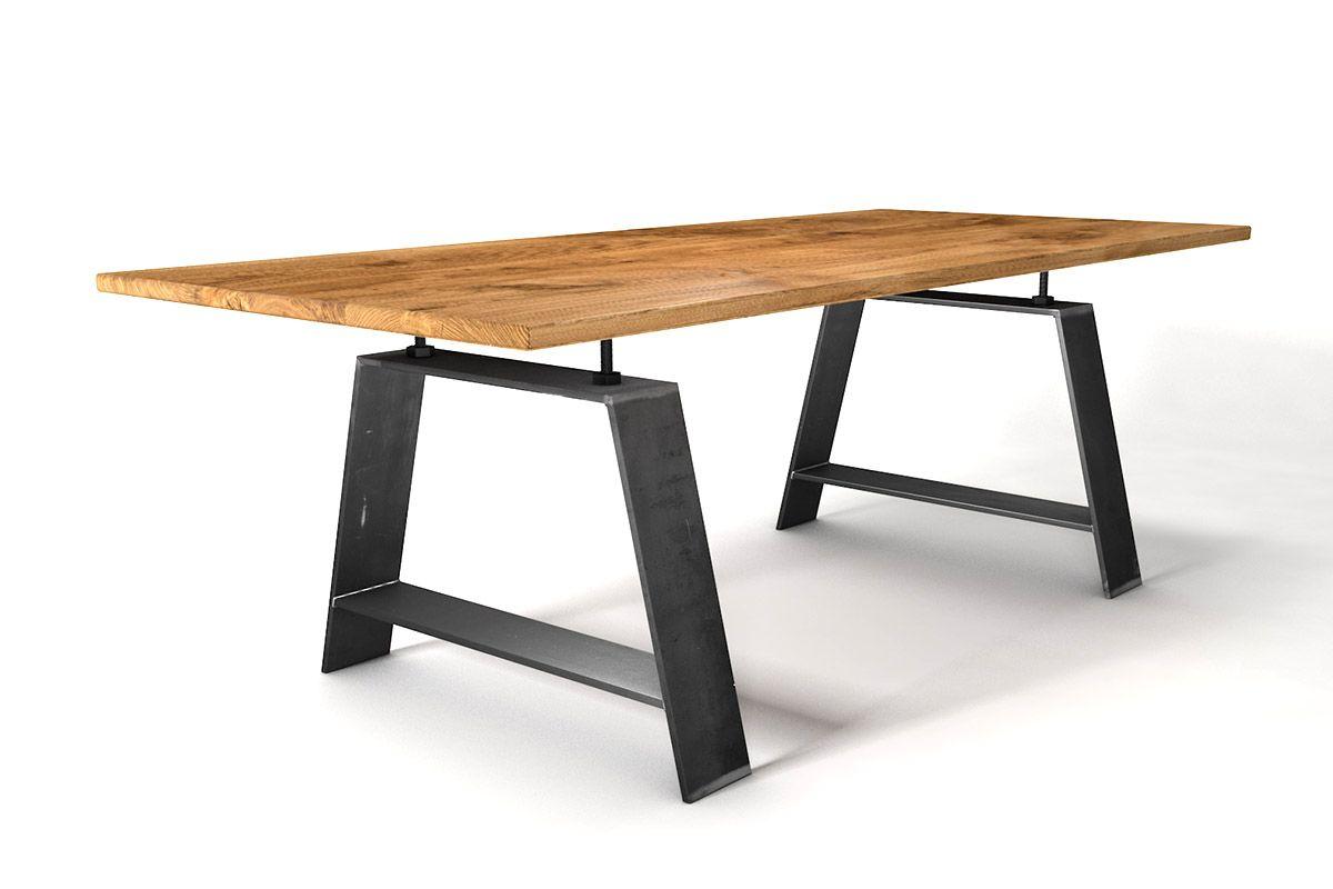 Eiche Industrial Esstisch aus Massivholz und Stahl nach deinem Maß gefertigt.