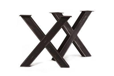 Stahlkreuz Tischgestell nach Maß im 2er Set verschiedene Stahlarten möglich