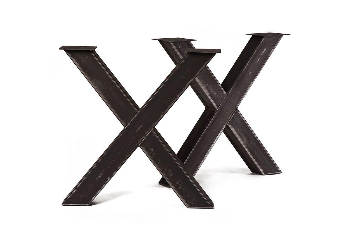 stahlkreuz tischgestell 2er set holzpiloten. Black Bedroom Furniture Sets. Home Design Ideas