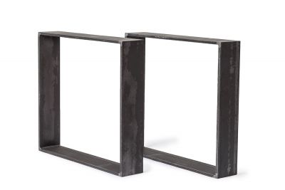 Tischkufen Stahl massiv im Profil 15 x 1,5cm - 2er Set in Rohstahl