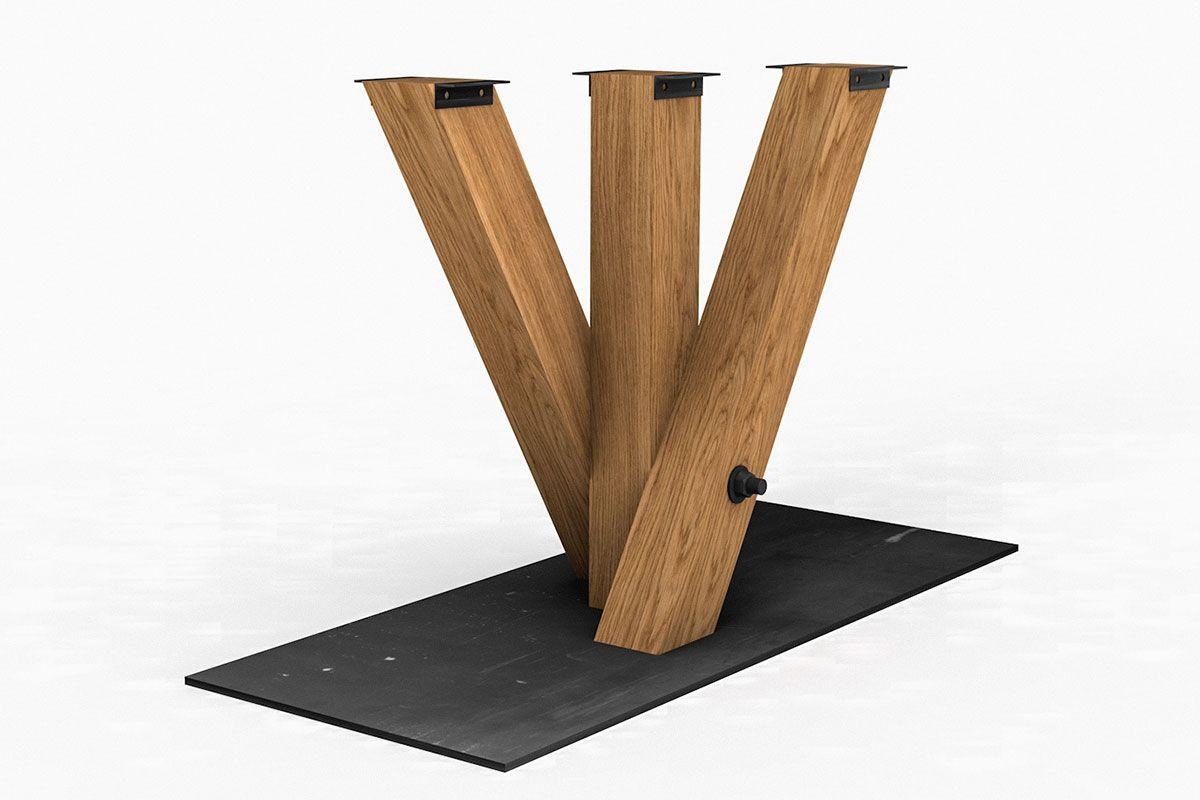 Stahl Bodenplatte Tischuntergestell Mittelfuß mit Holzbeinen in charakterstarker Eiche