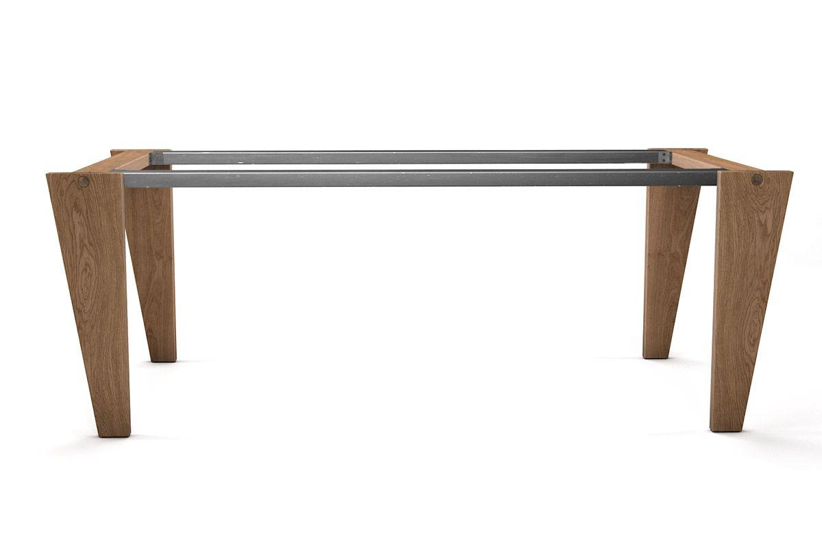 Selbsttragendes Stand Alone Tischuntergestell in Eiche, Buche oder Nussbaum
