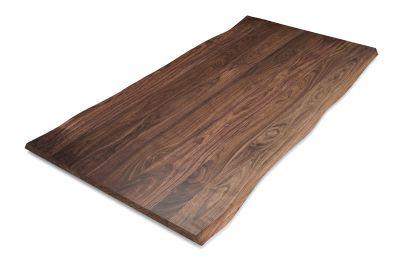 Baumkanten Tischplatte Nussbaum massiv nach Maß 4cm astfrei