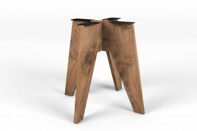 Massivholz Tischgestell in kantiger Form auf Maß gefertigt