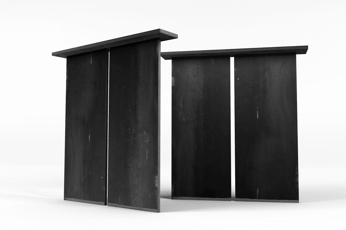 Stahl Tischgestell Wangen auf Maß aus massivem Flachstahl gefertigt