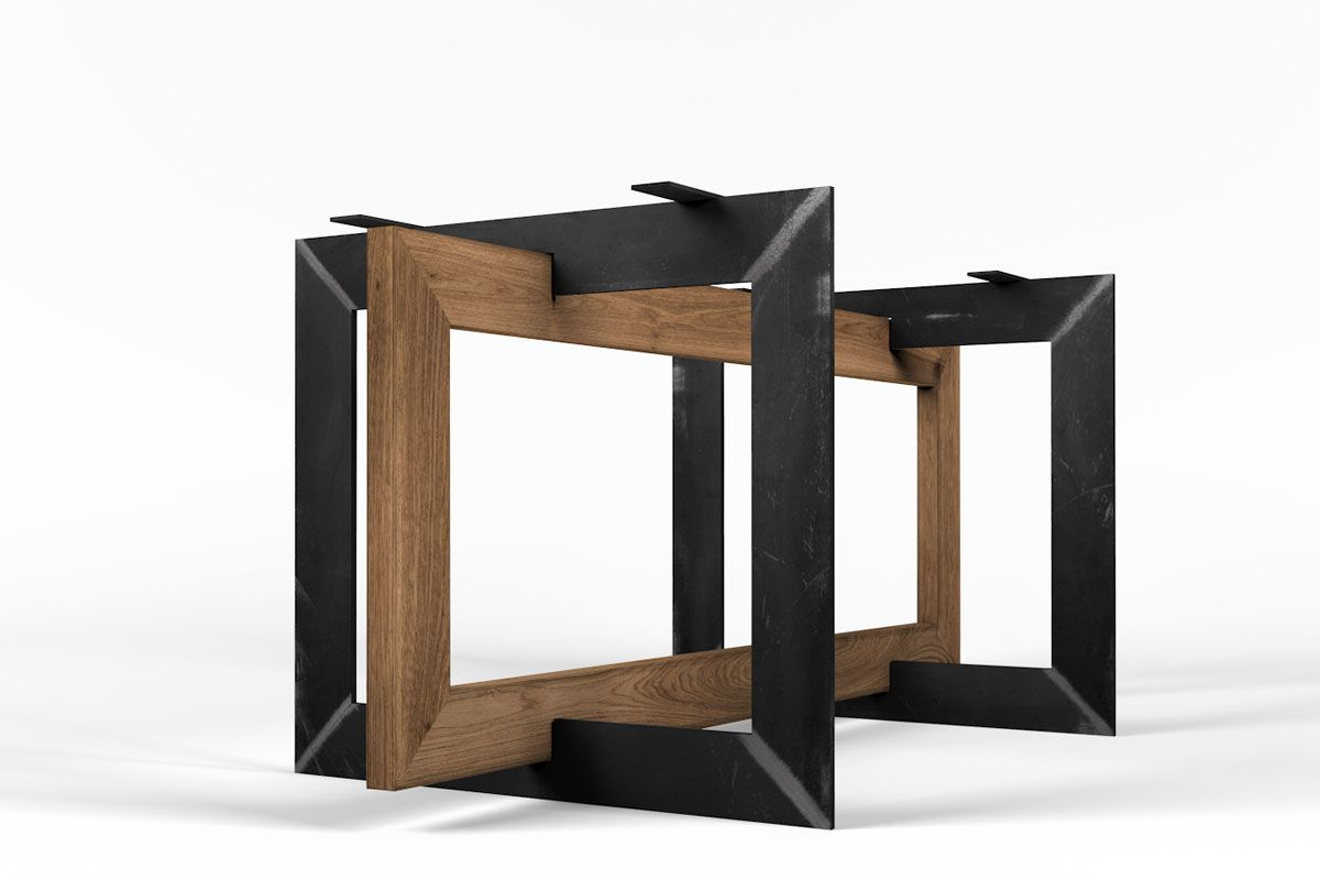 selbsttragendes tischuntergestell massiver eiche und stahl holzpiloten. Black Bedroom Furniture Sets. Home Design Ideas