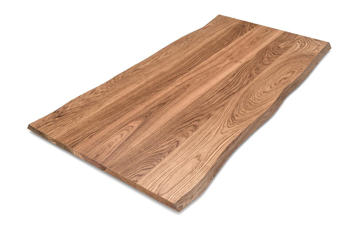 Weitgehend astfreie Eiche Tischplatte mit Baumkante