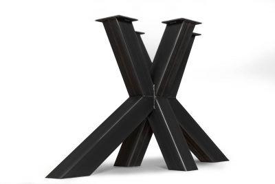 Tischgestell Kreuzfuß Stahl in Maßfertigung in verschiedenen Stahlfarben erhältlich