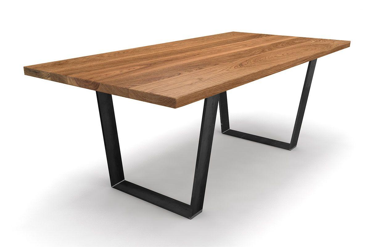 Esstisch Eiche massiv nach Maß mit konischen Stahl-Tischkufen