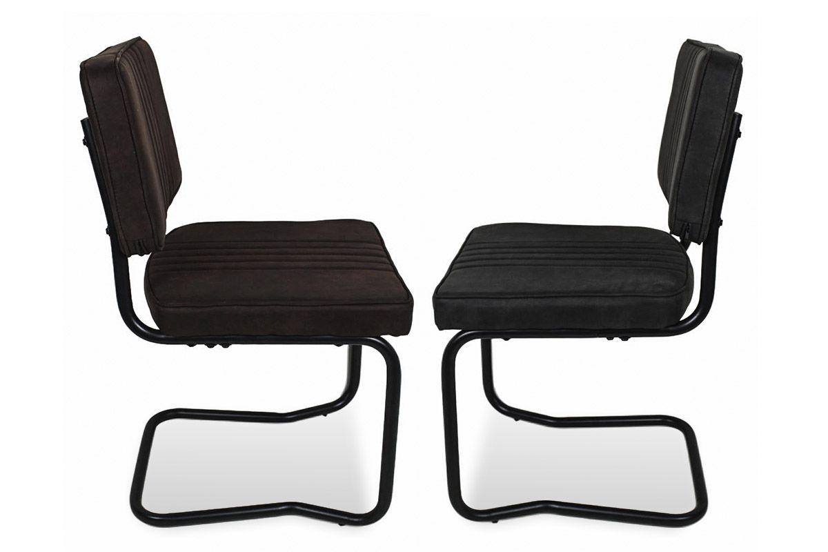 Freischwinger Stuhl gepolstert wahlweise Braun oder Schwarz