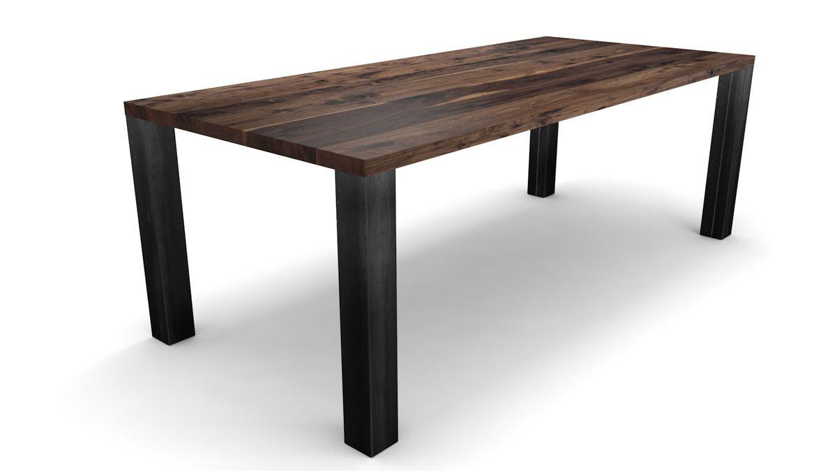 Industriedesign Nussbaum Esstisch 4cm mit Astanteil