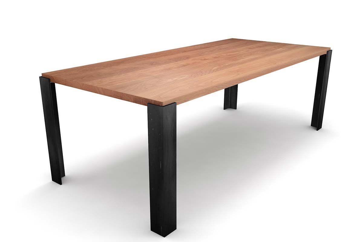 Massivholz Esstisch Buche mit Tischbeinen aus Eisen