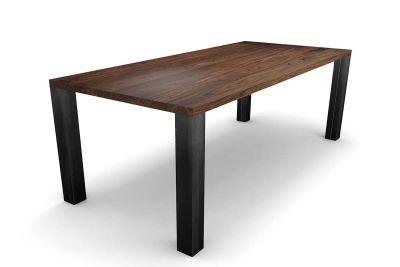 Esstisch modern Nussbaum mit Stahl Tischbeinen