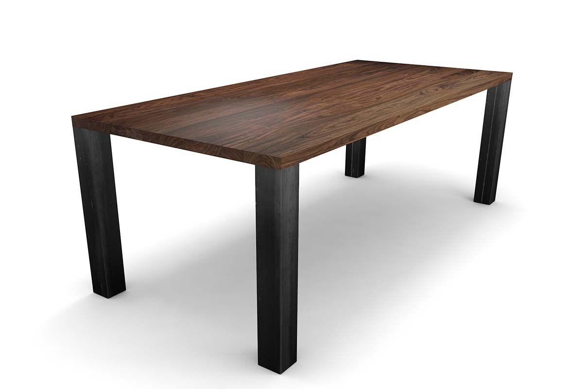 Esstisch modern Nussbaum mit Stahl-Tischbeinen [HOLZPILOTEN]