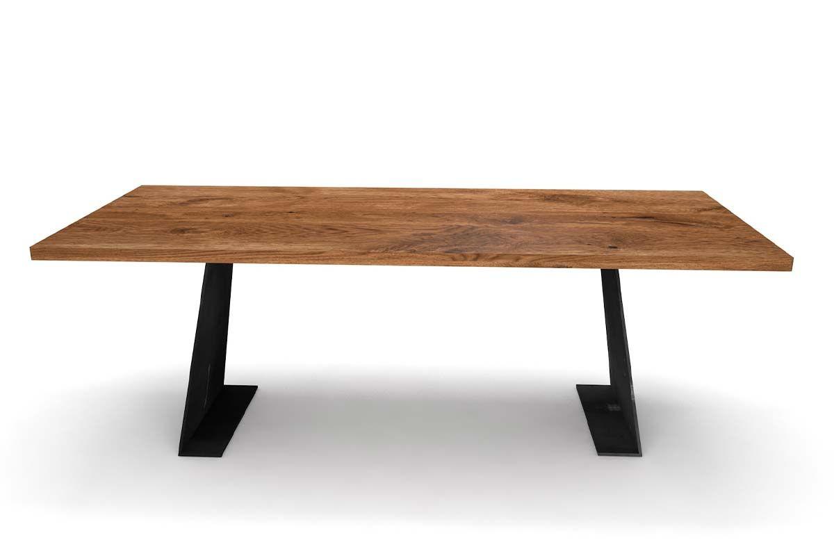 design esstisch eiche mit stahl tischwangen holzpiloten. Black Bedroom Furniture Sets. Home Design Ideas