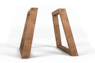 Seitenansicht der Tischkufen aus Holz für den perfekten Überblick.