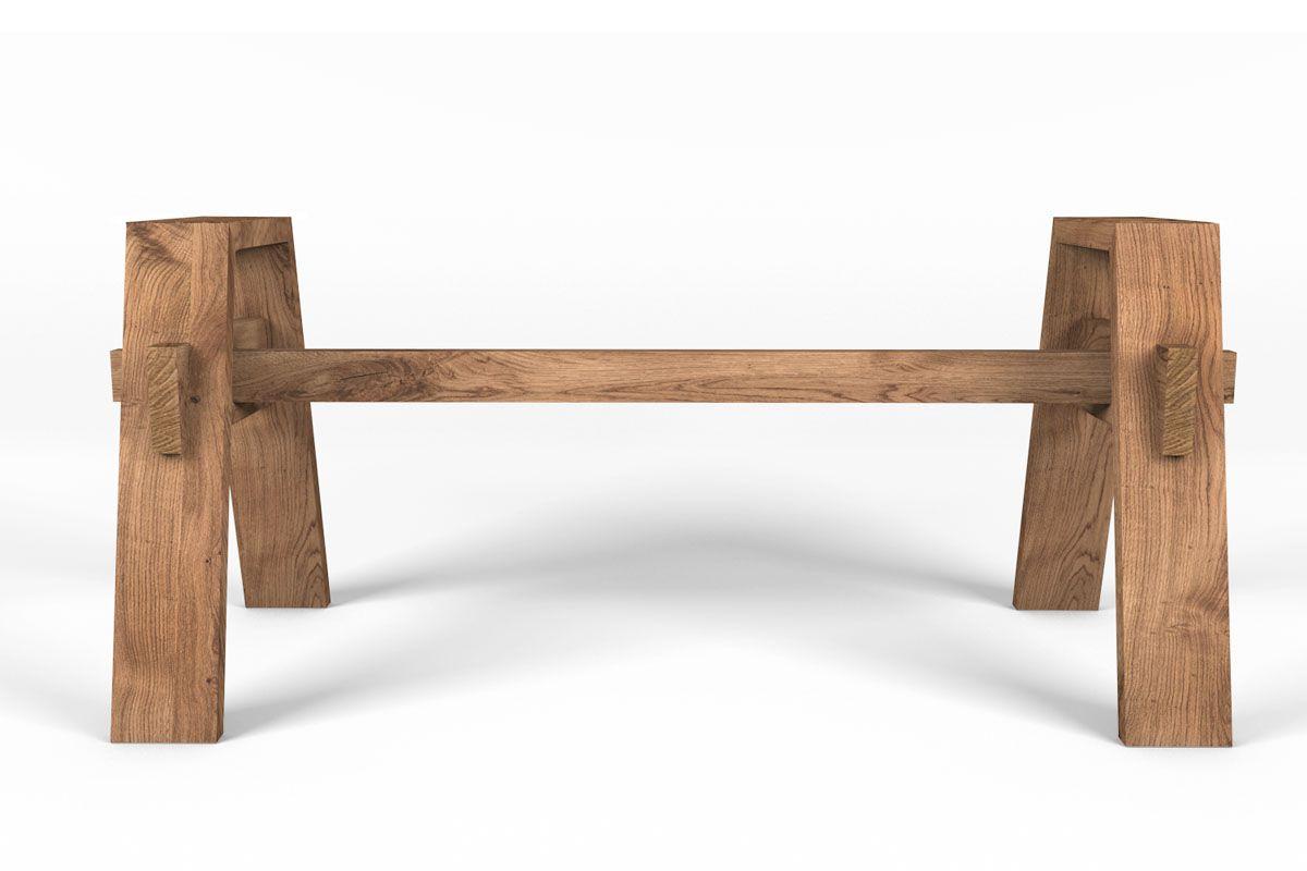 Seitenansicht des massiven Holzgestell auf Maß gefertigt.