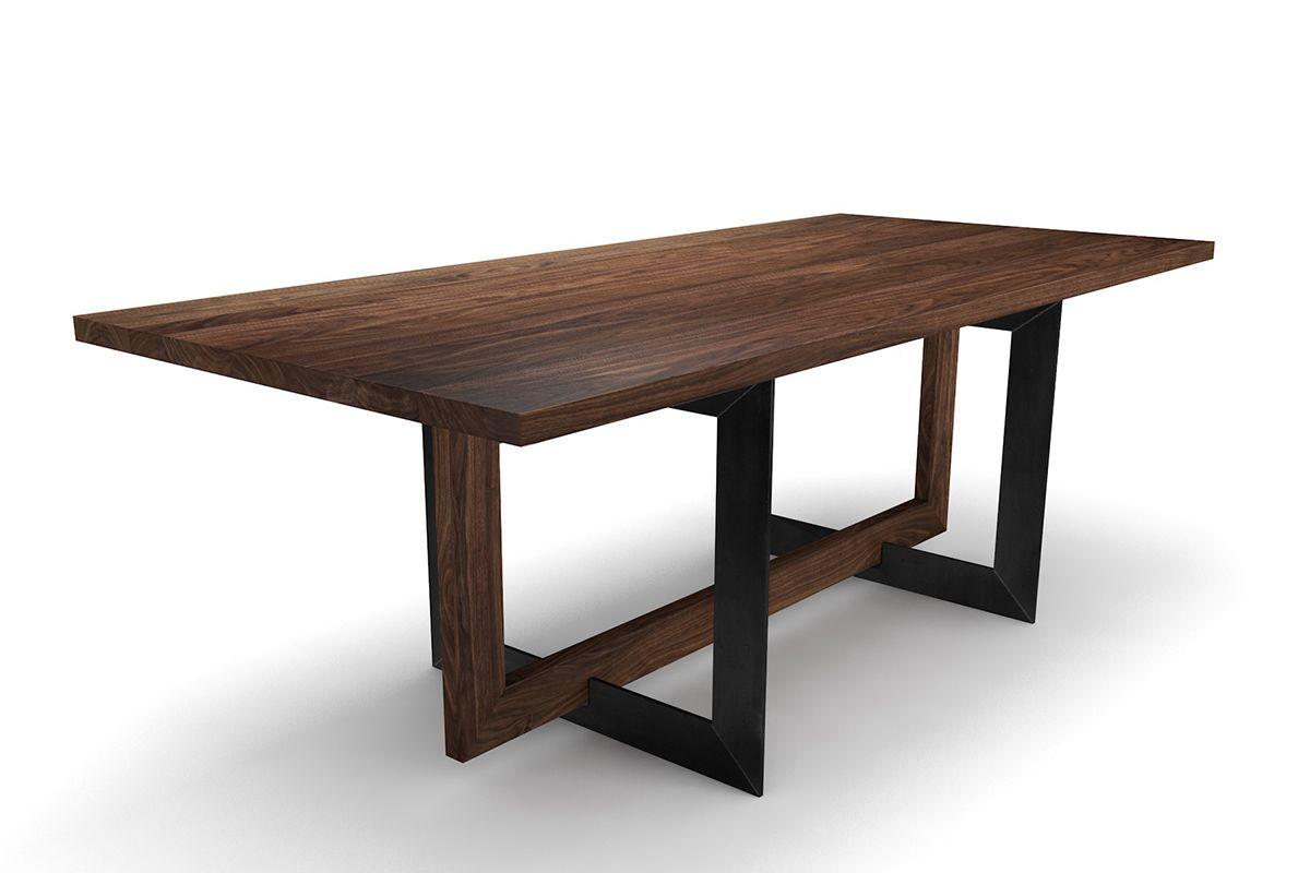 Nussbaum Tisch Massiv Nach Maß Mit Selbsttragendem Gestell Holzpiloten