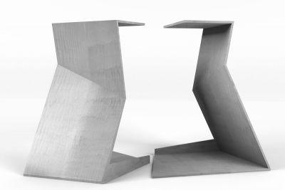 Stahl Tischgestell Design nach Maß Rück - und Seitenansicht