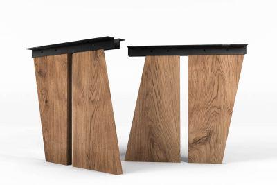 Tischwangen aus Holz vollmassiv schräg nach Maß gefertigt