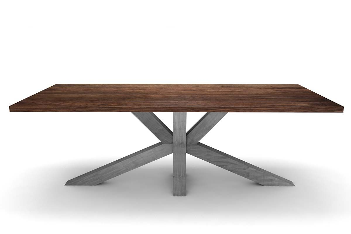 Nussbaumesstisch nach Maß mit Stahlkreuz Mittelfuß