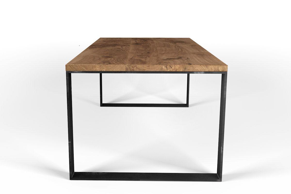 Eiche Esstisch mit Stahl Untergestell selbsttragend