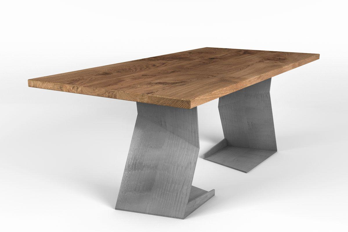 Design Esstisch aus Eiche 4 Zentimeter nach Maß mit Astanteil und design Tischbeinen