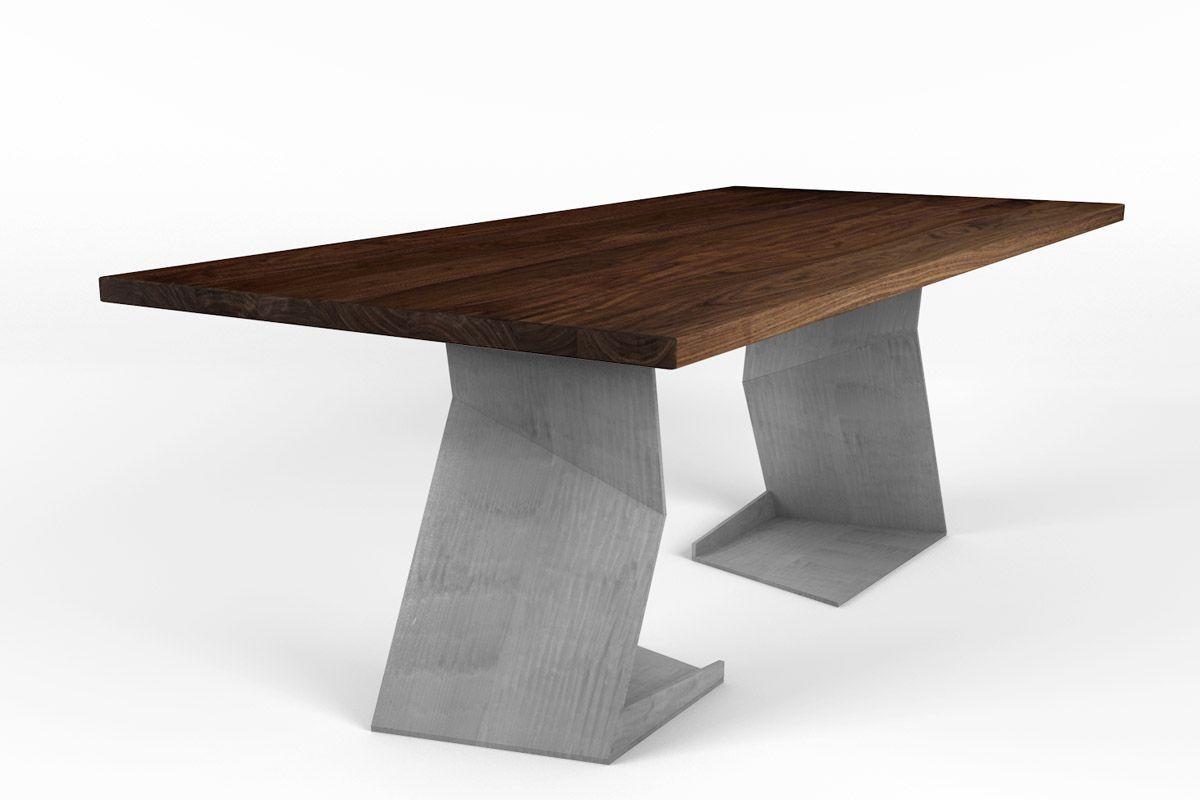 Esstisch aus astfreiem Nussbaum mit futuristischem Tischgestell aus Stahl