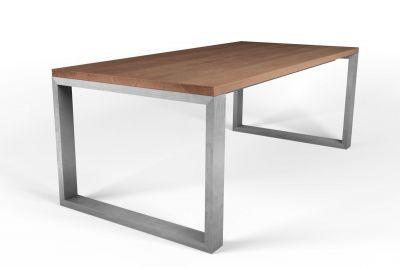 Buche Esstisch massiv nach Maß Stahl-Quader Tischgestell