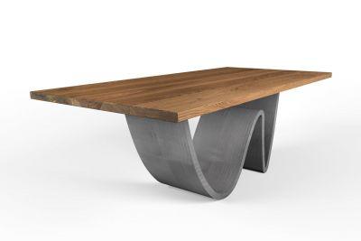 Eichentisch massiv in astfreier Qualität nach Maß Stahl Tischgestell Wellenform