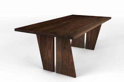 Design Holztisch Nussbaum mit Tischwangen in Holz