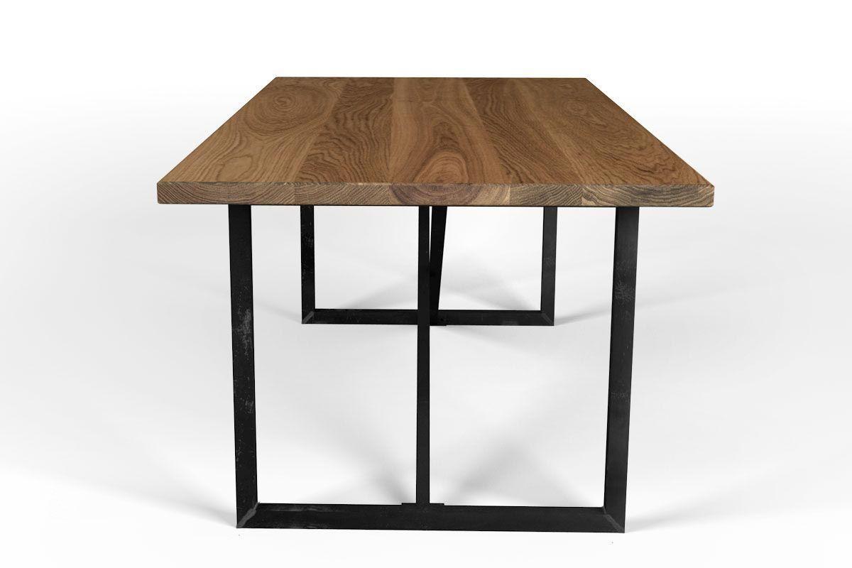 massivholz tisch eiche mit rahmengestell metall holzpiloten. Black Bedroom Furniture Sets. Home Design Ideas