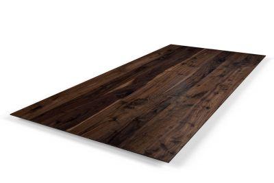 Tischplatte Schweizer Kante Nussbaum 4cm mit Astanteil