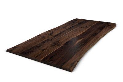 Tischplatte aus Nussbaum mit Baumkante